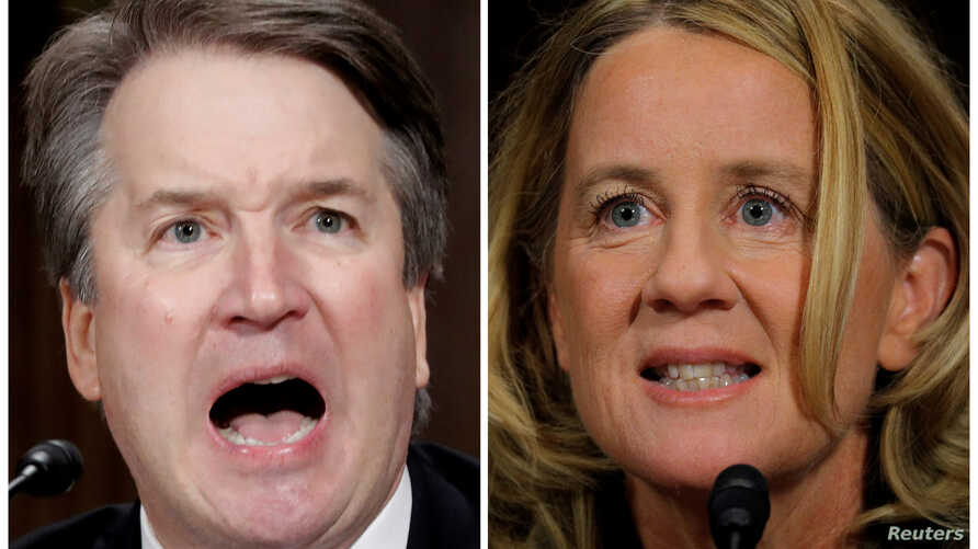 U.S. Supreme Court nominee Brett Kavanaugh and Professor Christine Blasey Ford, testify in this combination photo during a Senate Judiciary Committee confirmation hearing on Capitol Hill in Washington, DC, U.S., Sept. 27, 2018.