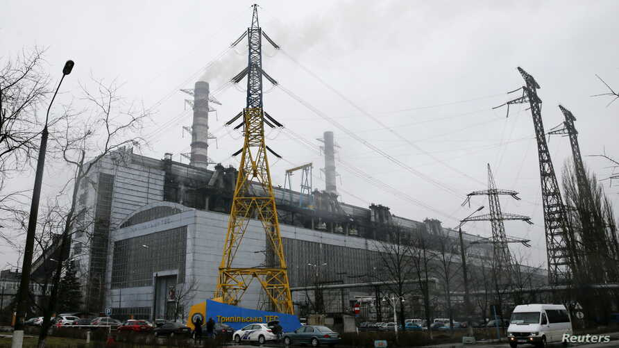 A general view shows the Trypillian thermal power plant, part of the Centrenergo company, in Kiev region, Ukraine, Feb. 11, 2016.