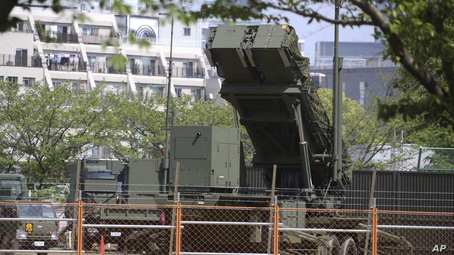 A PAC-3 Patriot missile unit is deployed against the North Korea's missile firing at the Defense Ministry in Tokyo, Saturday, April 29, 2017.