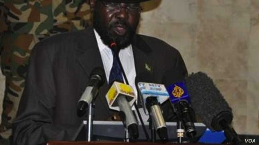 South Sudanese President Salva Kiir delivers a speech to open a new session of parliament on Tuesday, April 23, 2013 in Juba.