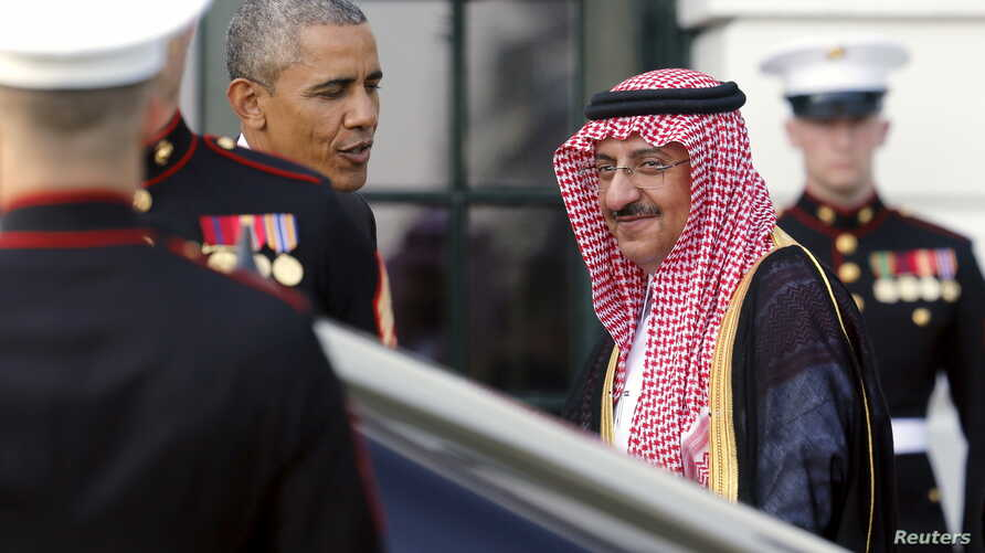U.S. President Barack Obama (L) greets Saudi Arabia's Crown Prince Mohammed bin Nayef as he plays host to leaders and delegations from the Gulf Cooperation Council countries at the White House in Washington, May 13, 2015.