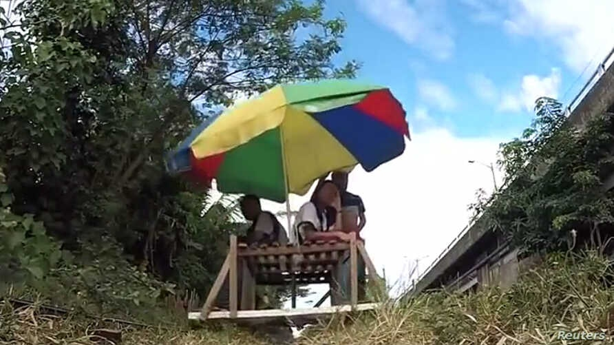 Many of Manila's trolleys, as the carts are known, are fitted with colorful umbrellas for shade from the sun and can seat up to 10 people each.