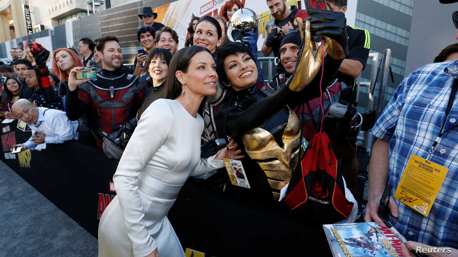 """Cast member Evangeline Lilly, who plays the Wasp, attends the premiere of the movie """"Ant-Man and the Wasp"""" in Los Angeles, June 25, 2018."""