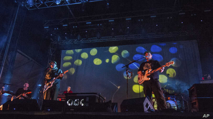 John Baldwin Gourley, left, and Zachary Scott Carothers of Portugal. The Man perform at the Austin City Limits Music Festival at Zilker Park on Oct. 15, 2017, in Austin, Texas.