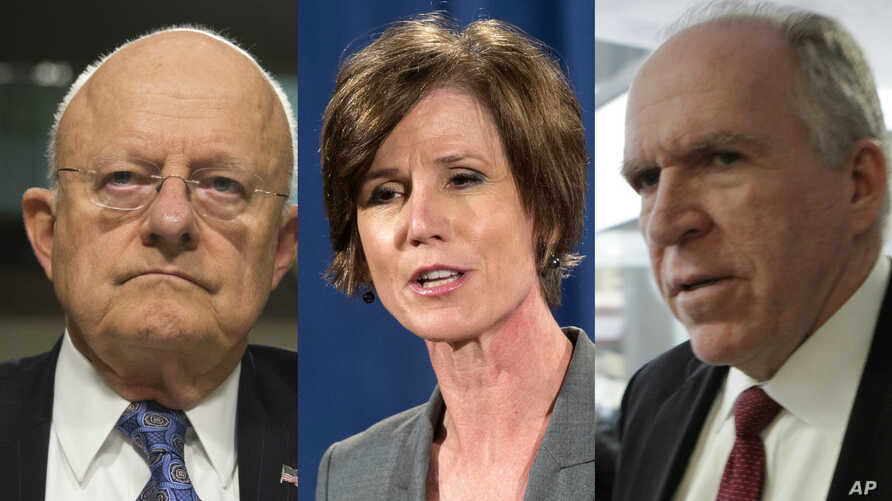 Three officials from former President Barack Obama's administration, from left, former Director of National Intelligence James Clapper, former Deputy Attorney General Sally Yates and former CIA Director John Brennan.