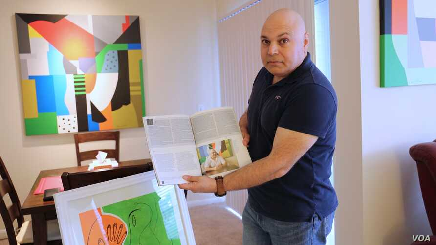 In his acrylic-filled home in Houston, artist Ammar Alobaidi flashes a May 2017 copy of Houstonia magazine, which features his work and life story.