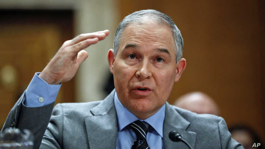 Environmental Protection Agency administrator Scott Pruitt testifies before the Senate Environment Committee on Capitol Hill in Washington, Jan. 30, 2018.