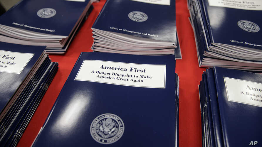 Copies of President Donald Trump's first budget are displayed at the Government Printing Office in Washington, March, 16, 2017.