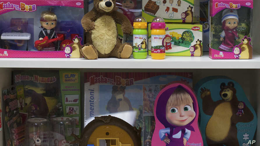 licensed goods are on display at the office of Animaccord which produces the Masha and Bear cartoon TV series in Moscow, Russia. Masha and the Bear, a Russian animated television series launched in 2009, now broadcasts in more than 120 countries inc