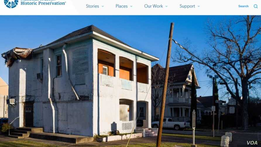 A screenshot of The National Trust for Historic Preservation's website shows the LULAC Council 60 Clubhouse in Houston that remains damaged a month after Hurricane Harvey inflicted more harm to the aging building. (Courtesy: The National Trust for Hi