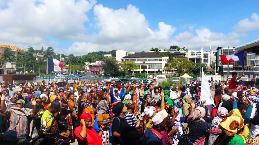 Protesters gather on the Place de la Republique in Mamoutzou, on the French Indian Ocean island of Mayotte, on March 13, 2018, during a demonstration against insecurity and immigration.