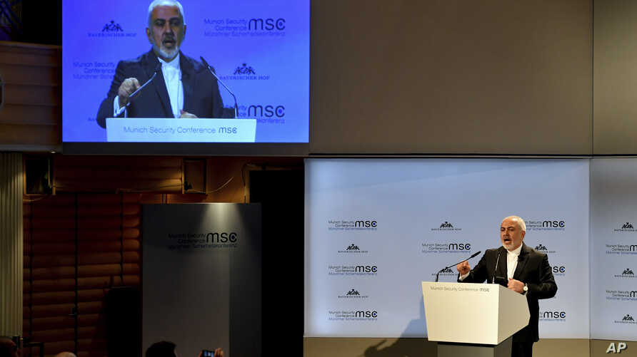 Iranian Foreign Minister Mohammad Javad Zarif speaks during the Munich Security Conference in Munich, Germany, Feb. 17, 2019.