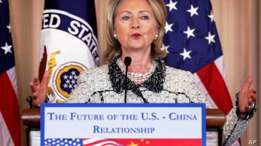 Secretary of State Hillary Rodham Clinton speaks about China at the State Department in Washington, Jan 14 2011