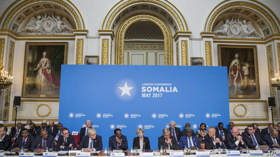 A general view of participants of the London Somalia Conference, held at Lancaster House, in London,  May 11, 2017.