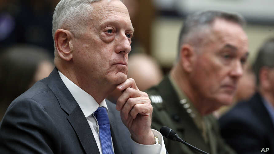 Defense Secretary Jim Mattis, left, with Joint Chiefs Chairman Gen. Joseph Dunford, testify on the FY2019 budget during a hearing of the House Armed Services Committee on Capitol Hill, April 12, 2018.