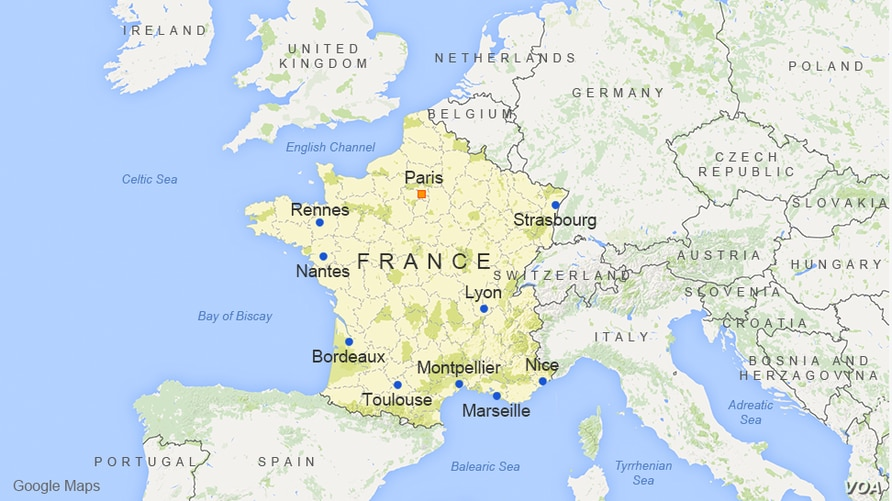 France, featuring the cities of Paris, Marseille, Lyon, Toulouse, Nice, Strasbourg, Nantes, Bordeaux, Montpellier, and Rennes
