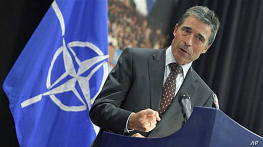 NATO Secretary General Anders Fogh Rasmussen speaks during a media conference at NATO headquarters in Brussels, Oct. 21, 2011.