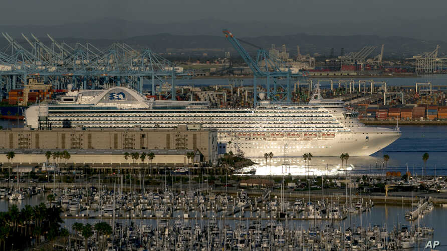 The Crown Princess cruise ship leaves the Port of Los Angeles, Feb. 5, 2016, in San Pedro, Calif.
