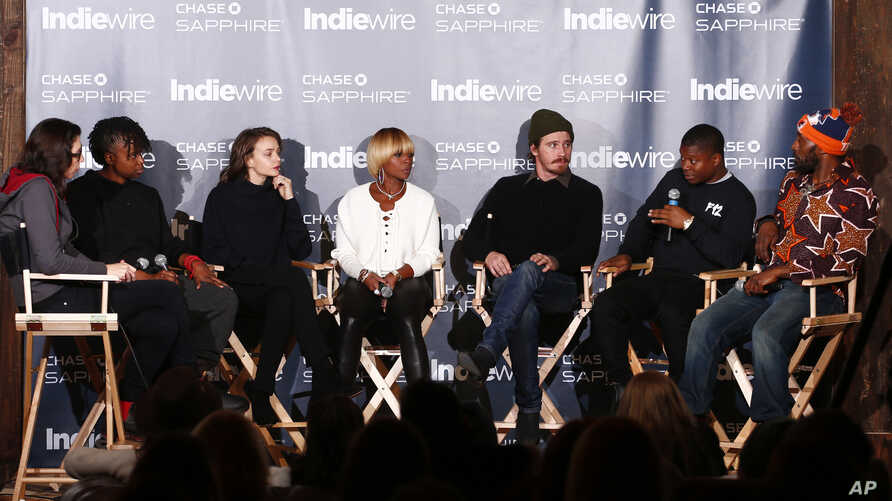 "FILE - Cast members of ""Mudbound"" talk during the ""Indiewire in Conversation"" panel at Chase Sapphire on Main, during the 2017 Sundance Film Festival in Park City, Utah, Jan. 22, 2017."