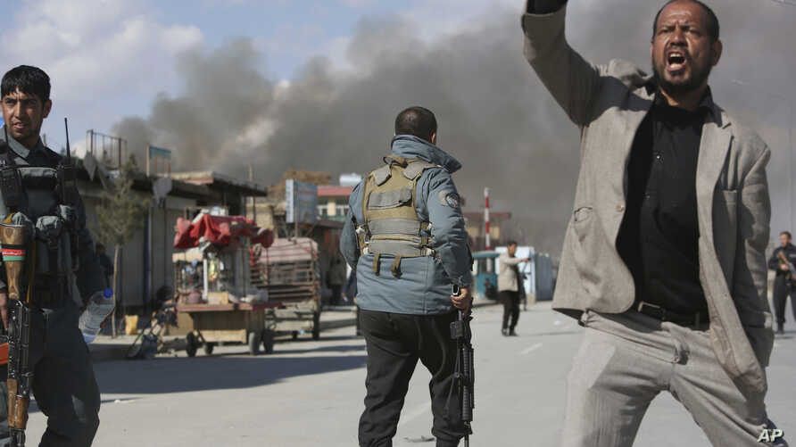 Afghan security forces respond to a suicide attack in Kabul, Afghanistan, March 1, 2017.