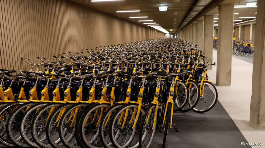Hundreds of public bicycles are seen in the world's largest bike parking garage in Utrecht, Netherlands, Aug. 21, 2017.