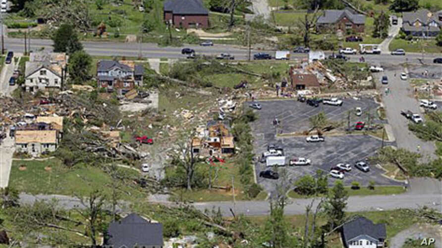 This is an aerial view of damage to downtown Cullman, Alabama, after dozens of tornadoes ripped through the South, flattening homes and businesses and killing more than 200 people in six states in the deadliest outbreak in nearly 40 years, April 28,