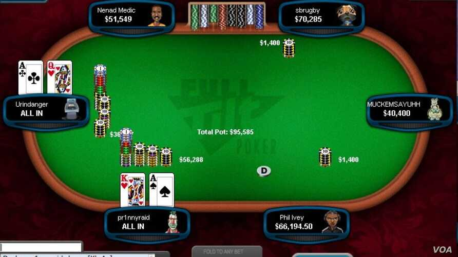 Urindanger, the screen name for Di Dang is seen on the left during an online poker game. Di and his brother Hac are professional poker players and have won millions.