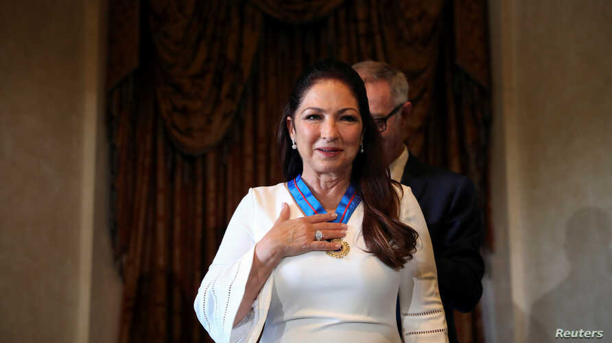 Cuban-American singer Gloria Estefan reacts upon being awarded Spain's Gold Medal of Merit for the Arts from Spain's Culture Minister Jose Guirao Cabrera in Madrid, Spain, July 23, 2018.