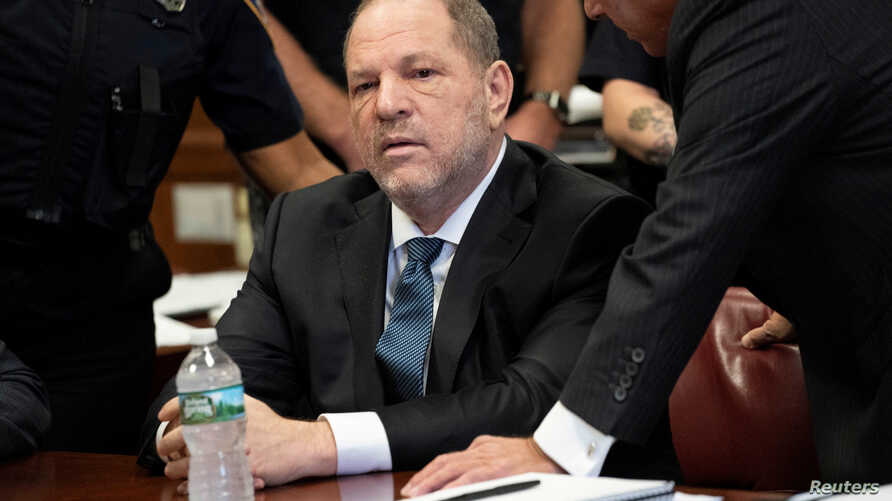 Film producer Harvey Weinstein sits during his hearing at Manhattan Criminal Court in New York, Oct. 11, 2018.