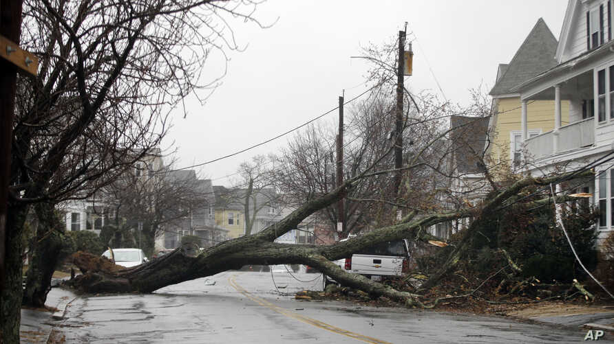 FILE - In this March 2, 2018 file photo, an uprooted tree blocks a residential street after taking down a power line in Swampscott, Mass.