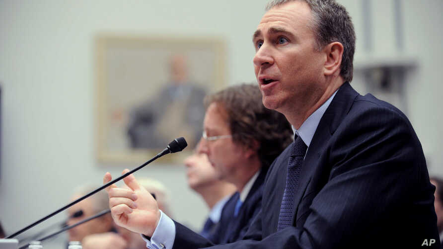 """FILE - Citadel Investment Group President and Chief Executive Officer Kenneth Griffin testifies on Capitol Hill Washington, Thursday, Nov. 13, 2008, before the House Oversight and Government Reform hearing on """"Hedge Funds and the Financial Market""""."""