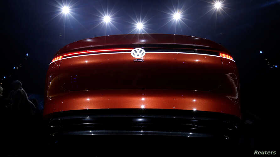 A Volkswagen I.D. concept car is displayed at a media event ahead of the Beijing Auto Show in Beijing, China April 24, 2018.