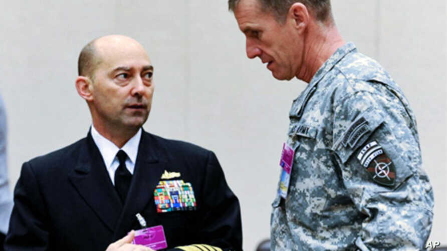 The Supreme Allied Commander Europe (SACEUR) Admiral James Stavridis (L) speaks with US general Stanley Mc Chrystal, the top US commander in Afghanistan (R) before a NATO meeting in Brussels (File)