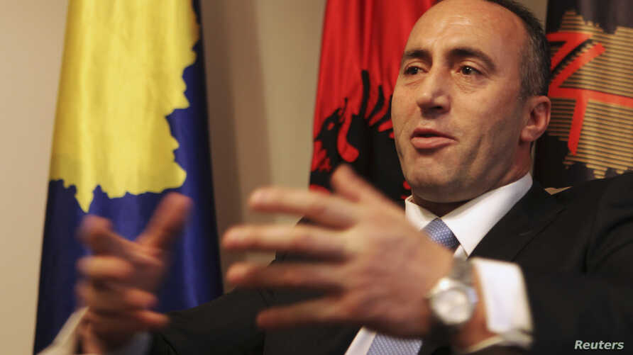 President of the Alliance for the Future of Kosovo (AAK) Ramush Haradinaj, a Kosovo Albanian former guerilla commander who served briefly as prime minister, speaks during an interview with Reuters at the AAK headquarters in Pristina, Dec. 4, 2012.