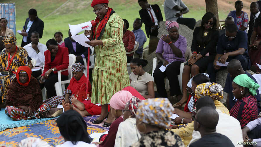 Obiageli Ezekwesili, former World Bank vice president and former Minister of Education, addresses a sit-in protest calling for the release of the abducted secondary school girls in the remote village of Chibok, at the Unity Fountain Abuja May 12, 201