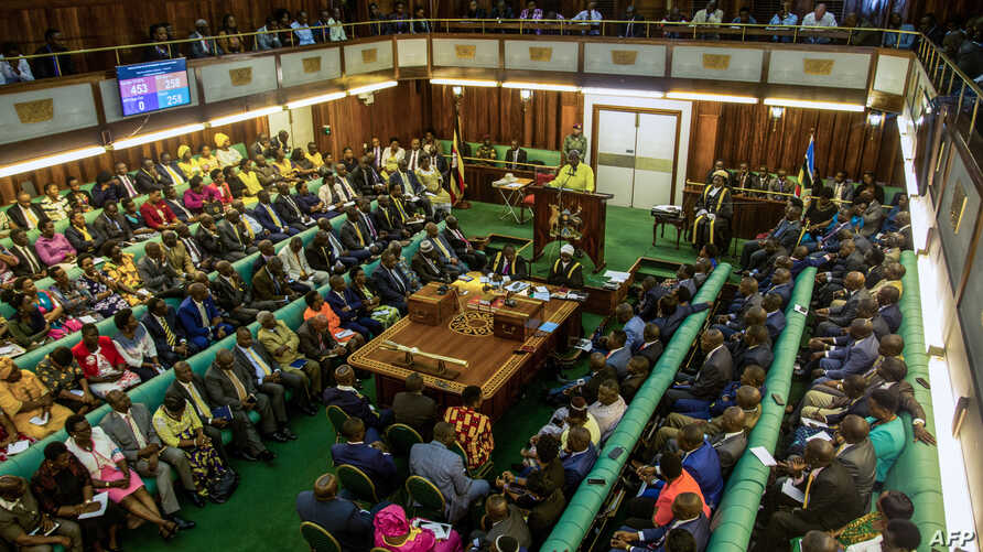 Uganda's President Yoweri Museveni gives a state of security address during a special session of the Parliament in kampala on June 20, 2018.