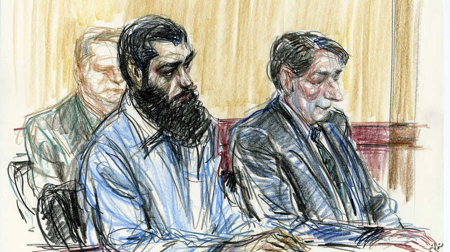 FILE - In this courtroom drawing, Abid Naseer, front left, sits next to his court-appointed legal adviser, James Neuman, right, as they listen to the guilty verdict against Naseer in federal court in the Brooklyn borough of New York, March 4, 2015.