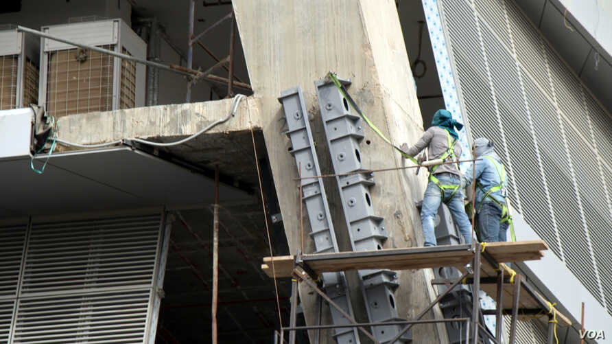 Construction speckles the rapidly rising Saudi capital, Riyadh creating jobs usually occupied by foreign workers, Jan. 25, 2016.
