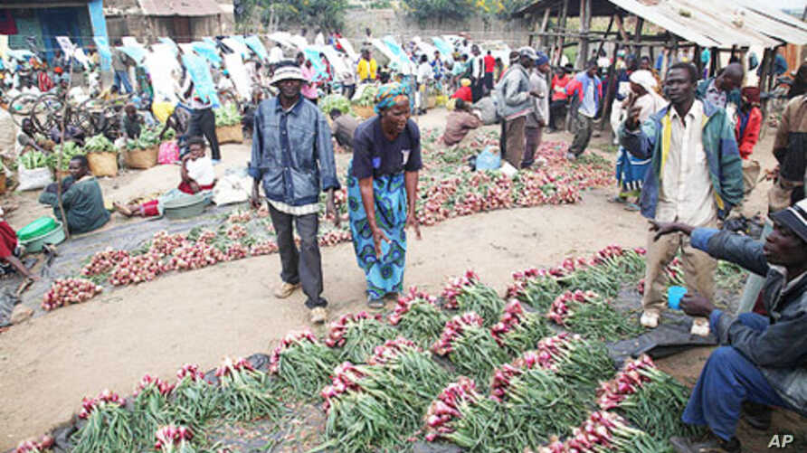 Mozambique farmers sell their crops at market.