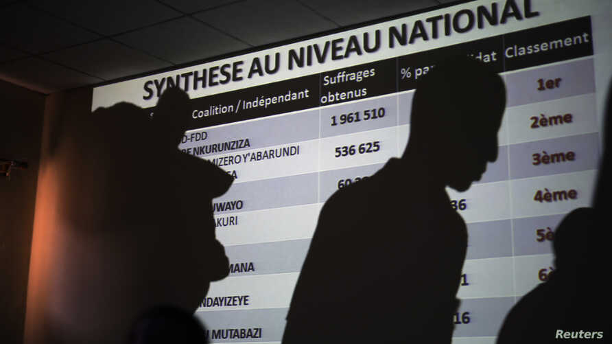 A powerpoint presentation shows the preliminary results of Burundi's presidential election as they are being presented by the National Electoral committee in Bujumbura, Burundi, July 24, 2015.