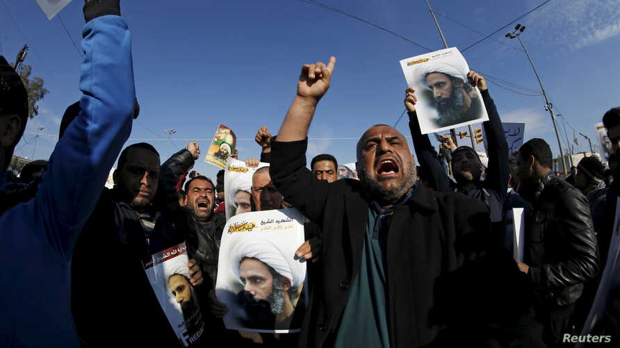 Supporters of Shi'ite cleric Moqtada al-Sadr protest against the execution of Shi'ite Muslim cleric Nimr al-Nimr in Saudi Arabia, during a demonstration in Baghdad, Jan. 4, 2016.