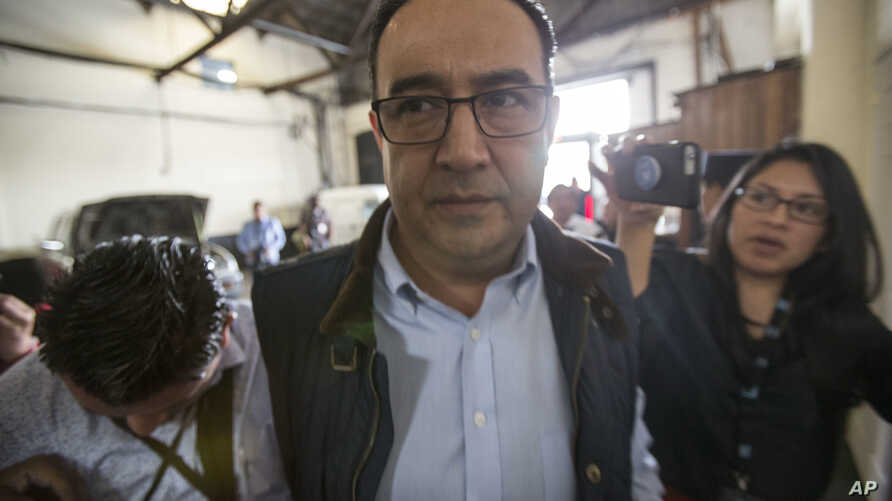 Samuel Everardo Morales, the brother of Guatemala's President Jimmy Morales, arrives at a court for a hearing in Guatemala City, Aug. 30, 2017.