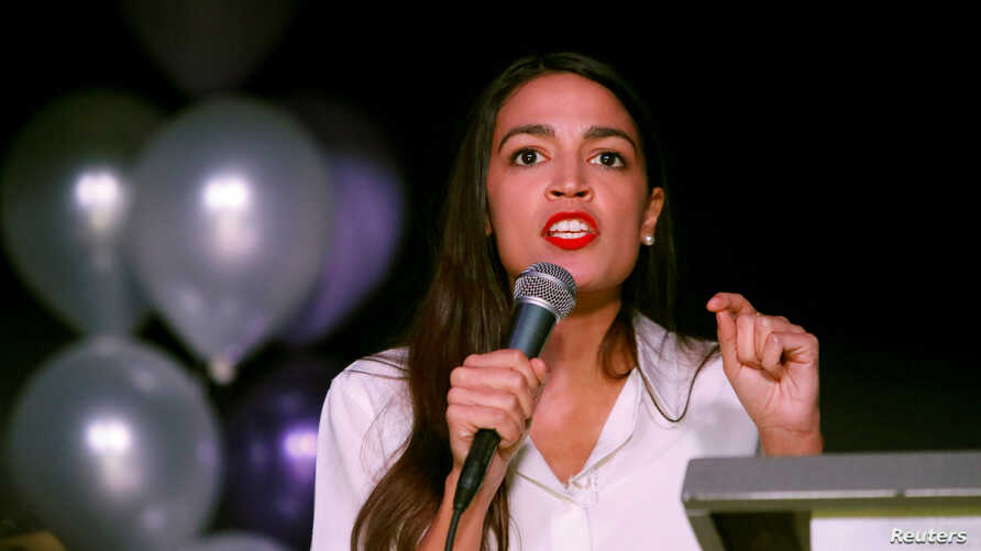 Democratic congressional candidate Alexandria Ocasio-Cortez speaks at her midterm election night party in New York City, Nov. 6, 2018.