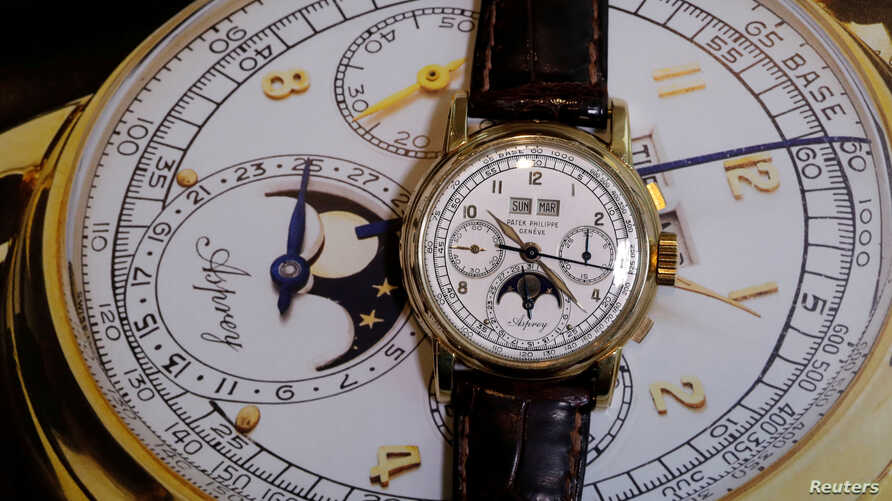 """""""The Asprey,"""" a Patek Philippe perpetual calendar chronograph watch reference 2499, is pictured during a press preview ahead of the upcoming auction at Sotheby's in Geneva, Nov. 7, 2018."""