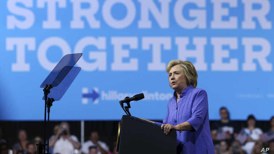 Campaign 2016 Clinton: Democratic presidential candidate Hillary Clinton speaks at a campaign rally, Monday, Aug. 15, 2016, in Scranton, Pa.