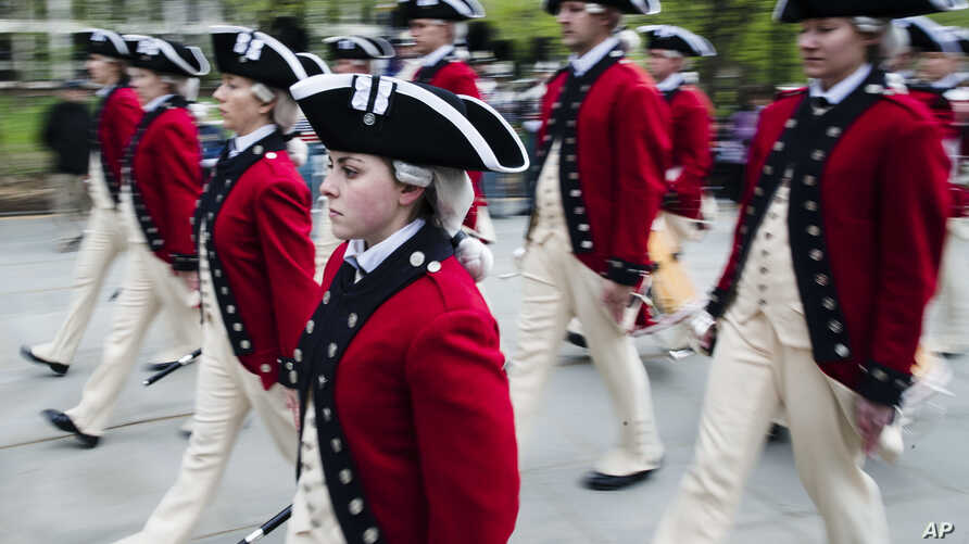 Members of the 3rd U.S. Infantry Regiment Fife and Drum Corp march during opening ceremonies for the Museum of the American Revolution in Philadelphia, April 19, 2017.
