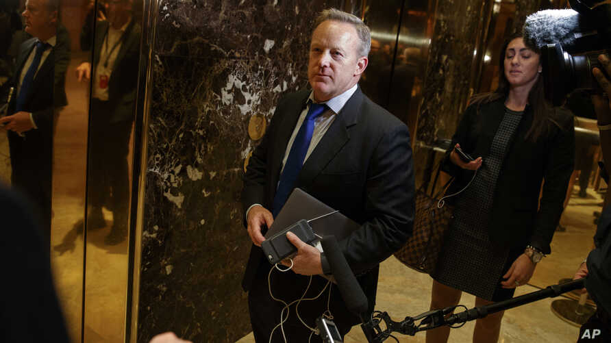 FILE - Incoming White House press secretary, at the time RNC communications director and chief strategist, Sean Spicer arrives at Trump Tower, Nov. 14, 2016, in New York.