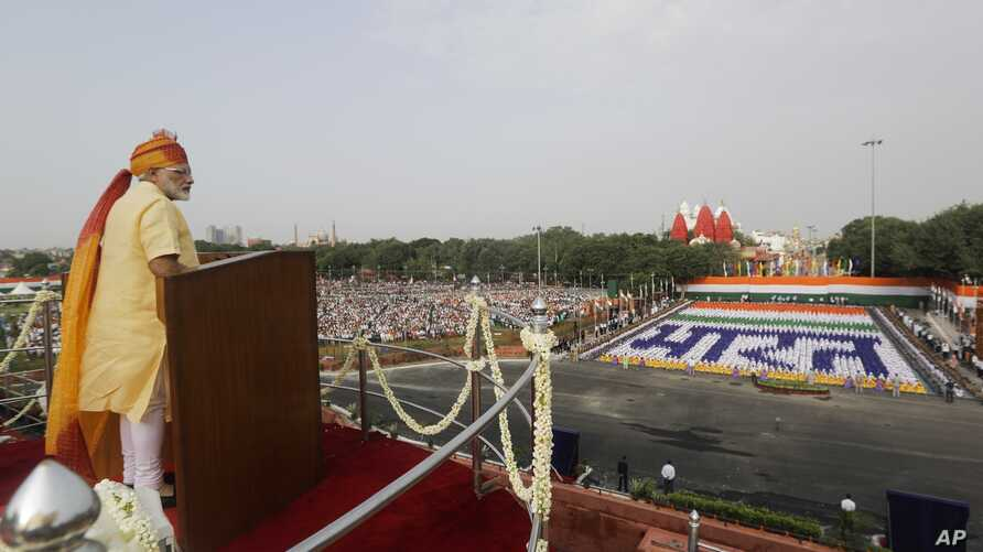 Indian Prime Minister Narendra Modi addresses the nation on the country's Independence Day from the ramparts of the historical Red Fort in New Delhi, India, Aug. 15, 2017.