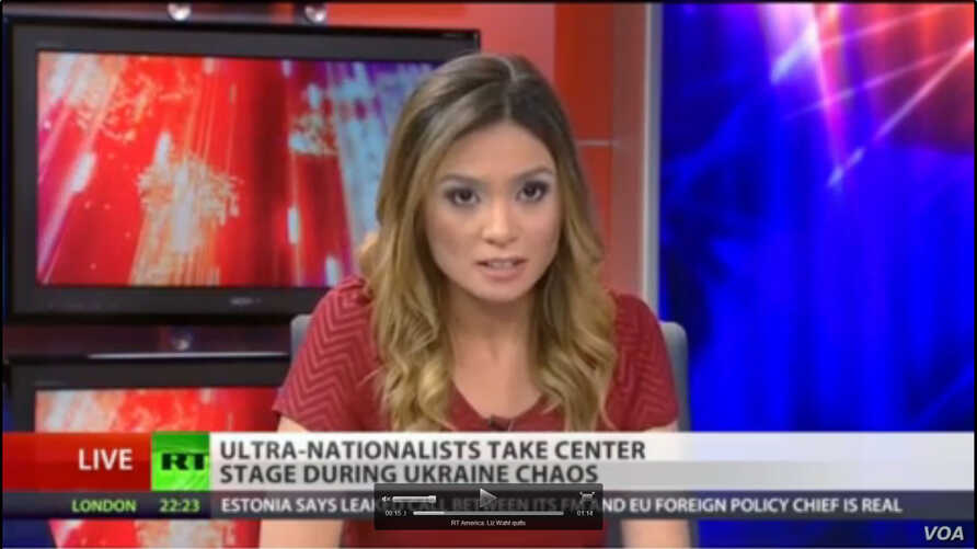 Russia Today anchor Liz Wahl announces here resignation on the air.