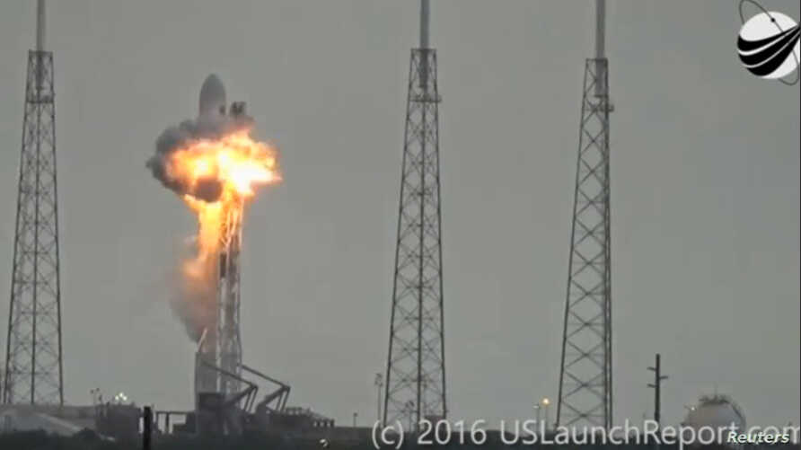An explosion on the launch site of a SpaceX Falcon 9 rocket is shown in this still image from video in Cape Canaveral, Florida, Sept. 1, 2016.